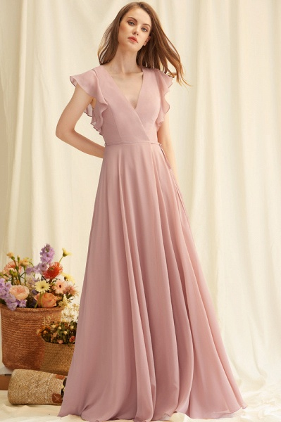 A-Line V-neck Floor-Length Chiffon Evening Dress With Split Front_2