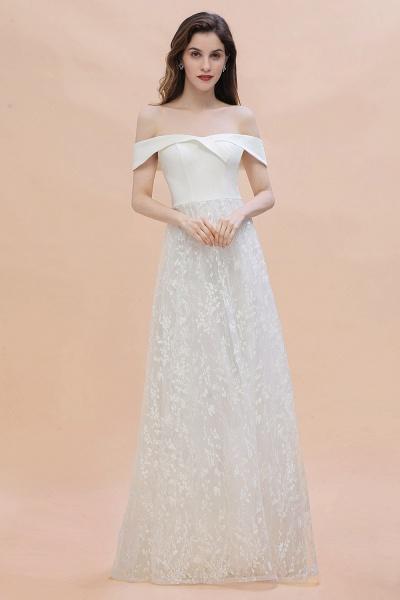 A-Line Off The Shoulder Lace Long Wedding Dress_7