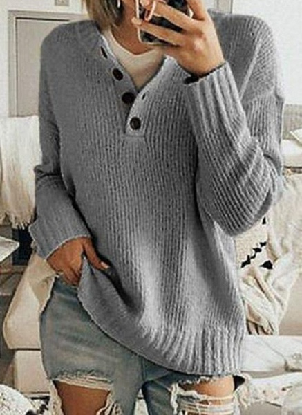 V-Neckline Solid Casual Loose Regular Buttons Sweaters_4