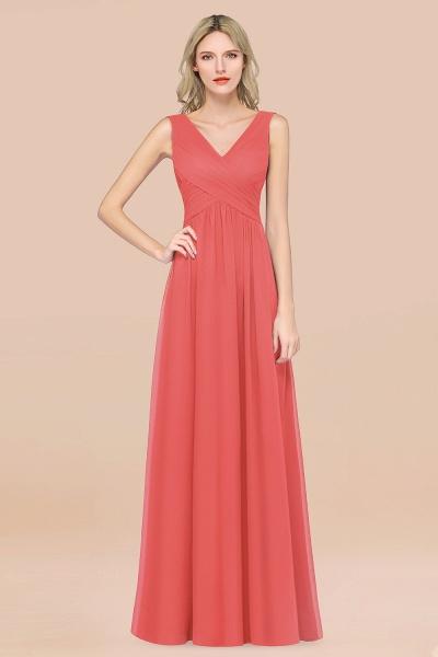 A-Line Chiffon Straps V-Neck Sleeveless Floor-Length Bridesmaid Dress with Ruffles_7