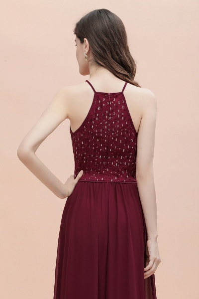 Halter Sequins A-line Chiffon Evening Dress_9