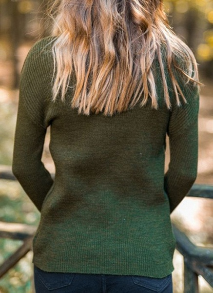 High Neckline Solid Casual Tight Regular Shift Sweaters_10