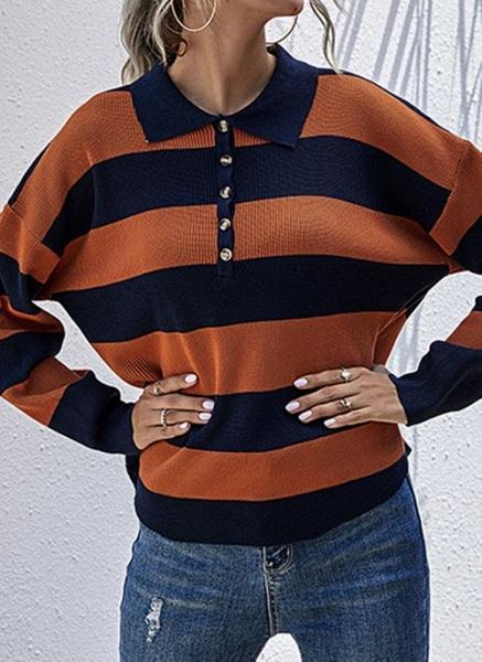Collar Color Block Casual Loose Regular Buttons Sweaters_3