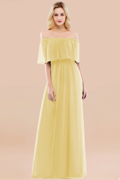 A-line Chiffon Off-the-Shoulder Short-Sleeves Ruffles Floor-length Bridesmaid Dress_18