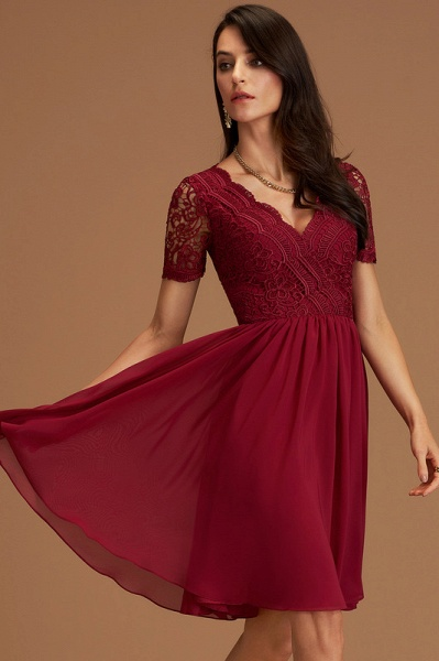 A-Line V-neck Chiffon Cocktail Dress With Lace_4