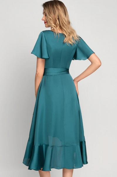 A-Line Asymmetrical Cocktail Dress With Bow(s) Cascading Ruffles_4