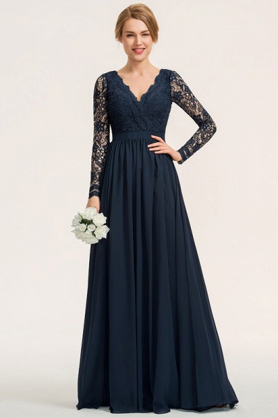 A-Line V-neck Floor-Length Chiffon Lace Evening Dress_2