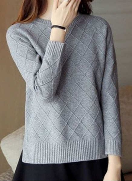 Round Neckline Solid Casual Loose Regular Shift Sweaters_12