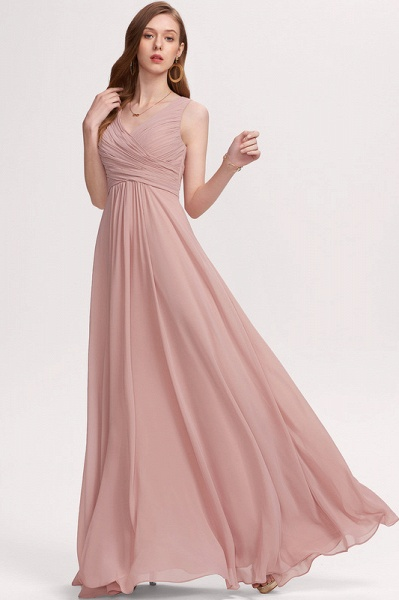 A-Line V-neck Floor-Length Chiffon Evening Dress With Ruffle_5