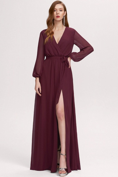 A-Line V-neck Floor-Length Chiffon Prom Dresses With Split Front_2