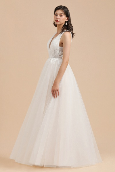 Amazing Illusion Lace Tulle A-line Wedding Dress_6