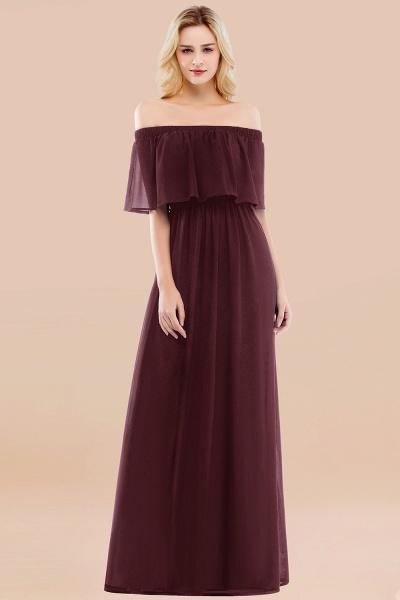 A-line Chiffon Off-the-Shoulder Short-Sleeves Ruffles Floor-length Bridesmaid Dress_47