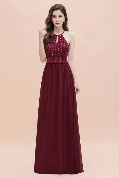 Halter Sequins A-line Chiffon Evening Dress_5