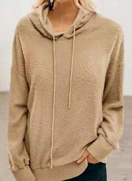 Hooded Solid Casual Loose Regular Shift Sweaters_1
