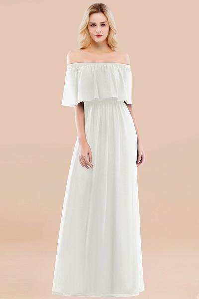 A-line Chiffon Off-the-Shoulder Short-Sleeves Ruffles Floor-length Bridesmaid Dress_2