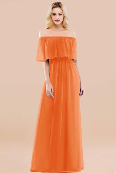 A-line Chiffon Off-the-Shoulder Short-Sleeves Ruffles Floor-length Bridesmaid Dress_15