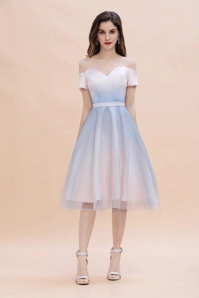 Off Shoulder Sweetheart Gradient A-line Evening Dress Tea Length_3