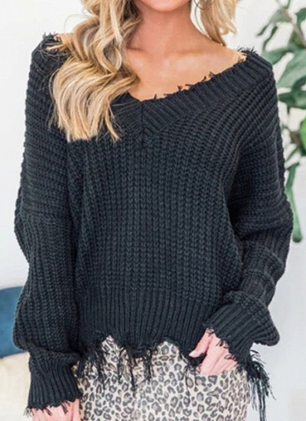 V-Neckline Solid Casual Loose Regular Tassel Sweaters_3