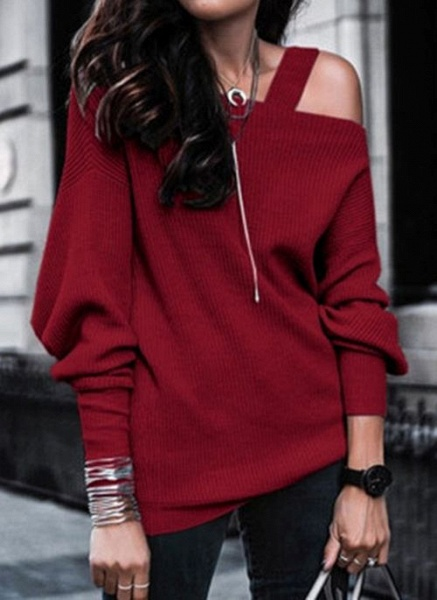 Oblique Neckline Solid Casual Loose Regular Hollow Out Sweaters_2