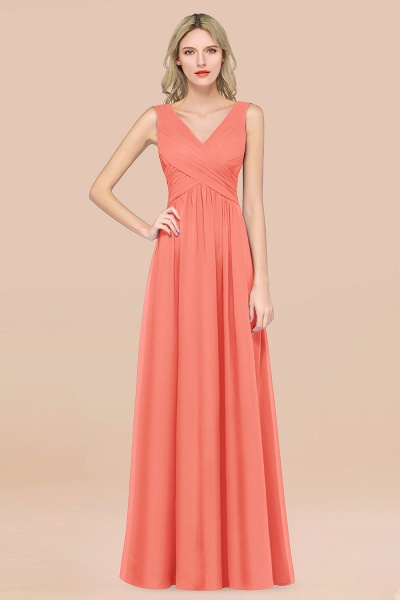 A-Line Chiffon Straps V-Neck Sleeveless Floor-Length Bridesmaid Dress with Ruffles_45