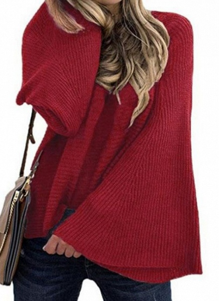 Round Neckline Solid Casual Loose Regular A-line Sweaters_2