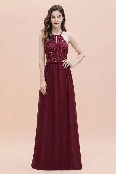Halter Sequins A-line Chiffon Evening Dress_4