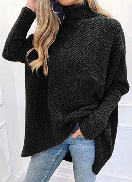High Neckline Solid Casual Loose Regular A-line Sweaters_3