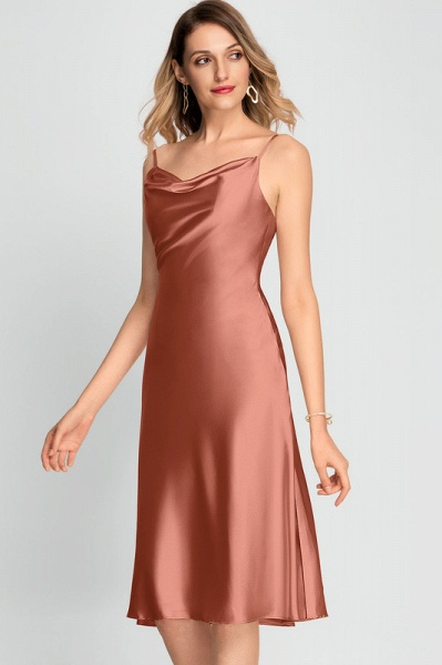 A-Line Cowl Neck Knee-Length Cocktail Dress With Split Front_2