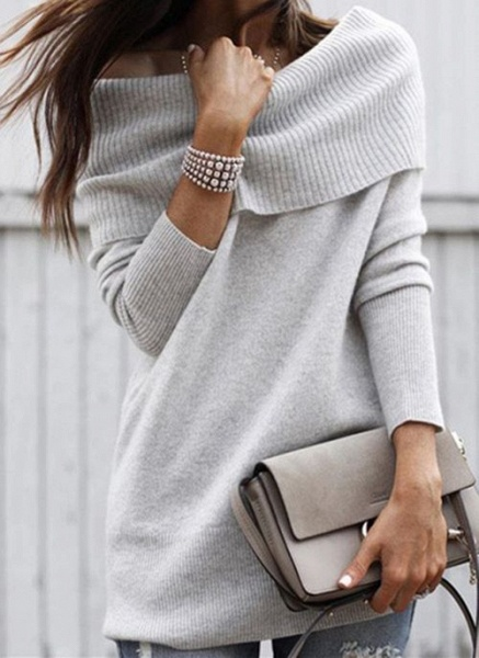 Off the Shoulder Solid Casual Regular Shift Sweaters_3