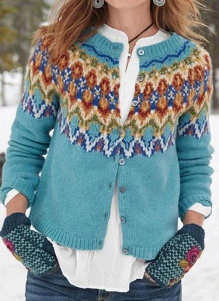 Round Neckline Geometric Vintage Loose Regular Buttons Sweaters