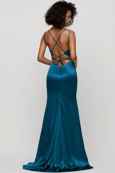 Trumpet/Mermaid V-neck Sweep Train silk like satin Evening Dress_1