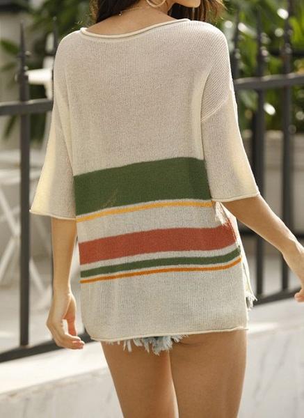 V-Neckline Stripe Elegant Loose Regular Shift Sweaters_10