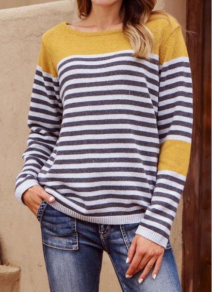 Boat Neckline Stripe Casual Loose Regular Shift Sweaters_1