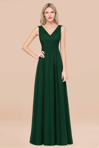 A-Line Chiffon Straps V-Neck Sleeveless Floor-Length Bridesmaid Dress with Ruffles_31