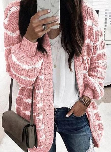 V-Neckline Color Block Casual Loose Regular Shift Sweaters_1