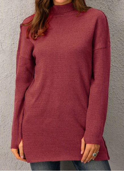 Draped Neckline Solid Casual Loose Long Shift Sweaters_1