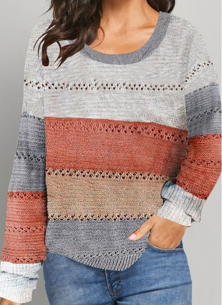 Round Neckline Color Block Casual Loose Regular Shift Sweaters_1