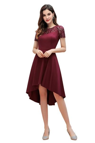 Short Sleeve Sequins Evening Hi-Lo Dress Tea Length Cocktail Dress_1