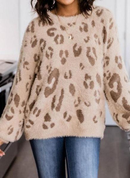 Round Neckline Leopard Casual Loose Regular Shift Sweaters_1