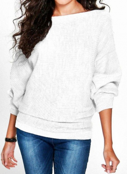 Boat Neckline Solid Casual Loose Regular Shift Sweaters_1