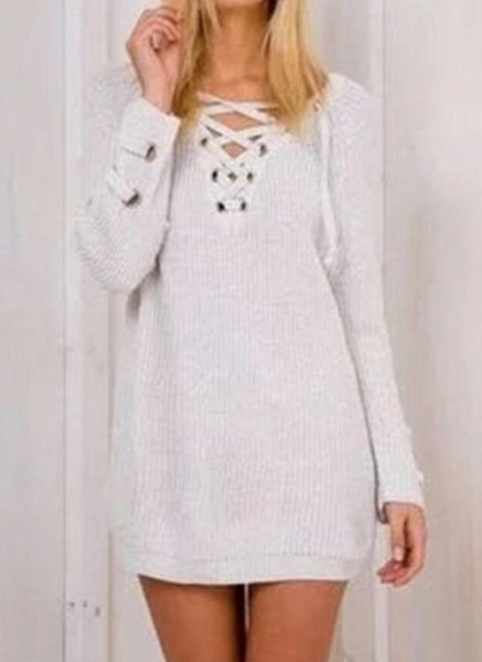 V-Neckline Solid Casual Loose Long Shift Sweaters_1