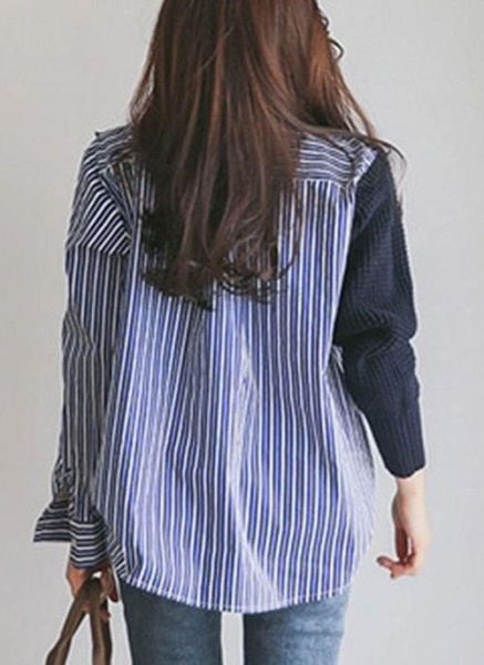 High Neckline Stripe Casual Loose Regular Buttons Sweaters_5