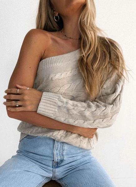 Oblique Neckline Solid Sexy Loose Regular Shift Sweaters_2