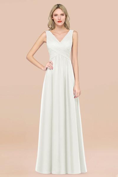 A-Line Chiffon Straps V-Neck Sleeveless Floor-Length Bridesmaid Dress with Ruffles_2