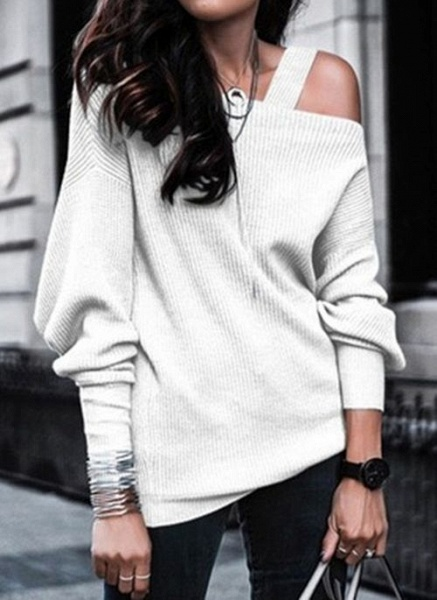 Oblique Neckline Solid Casual Loose Regular Hollow Out Sweaters_1