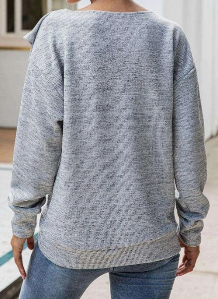Round Neckline Solid Casual Loose Regular Buttons Sweaters_5