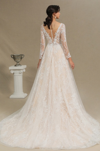 CPH230 Sheer Tulle Long Sleeve A-line Illusion Lace Wedding Dress_12