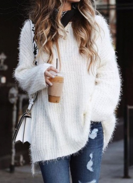 Round Neckline Solid Casual Loose Long A-line Sweaters_1
