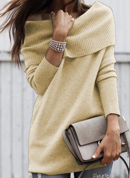 Off the Shoulder Solid Casual Regular Shift Sweaters_2