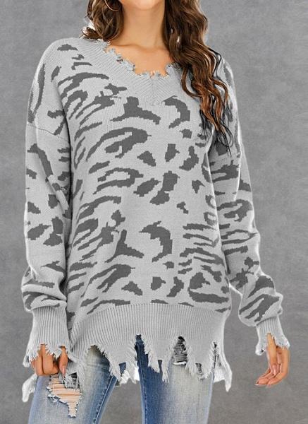 V-Neckline Leopard Casual Loose Regular Shift Sweaters_2